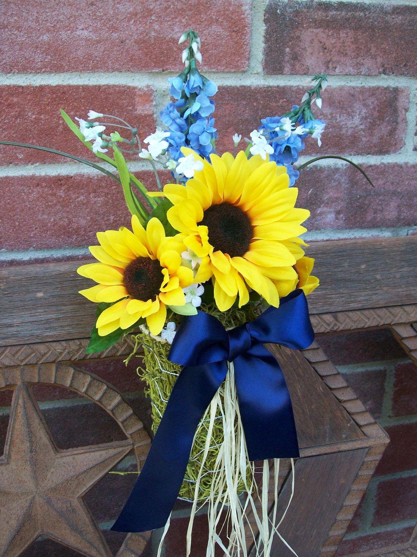 Sunflower Wedding Decor Pew Cones Sunflower Pew Bows by