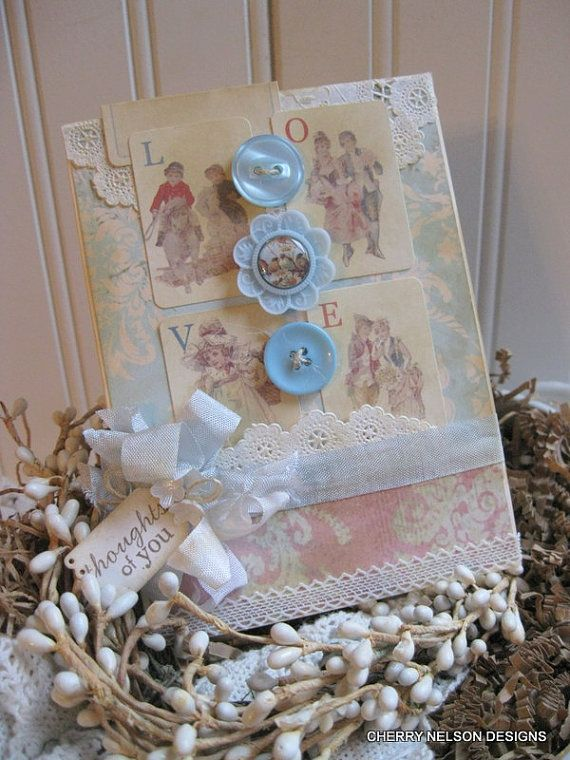 shabby chic cardVICTORIAN thoughts of you by cherrysjubileecards, $8.25