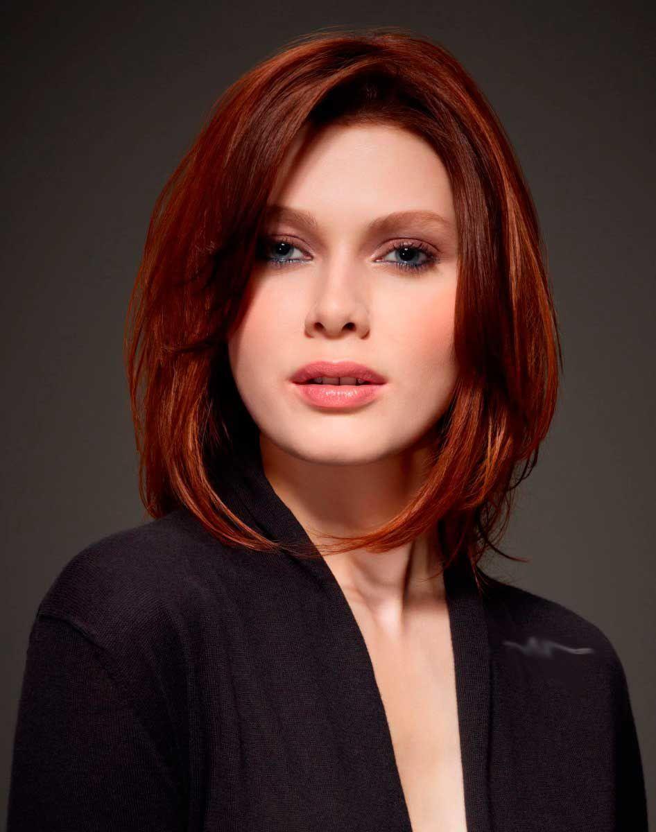 Прическа на волосы средней длины без челки фото