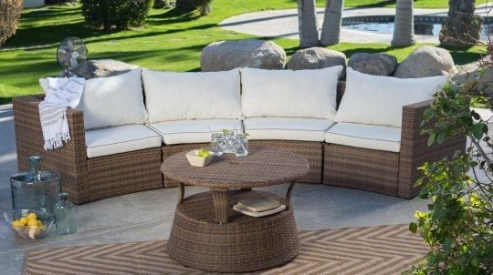 Coral Coast Albena All-Weather Wicker Curved Sofa Sectional ...