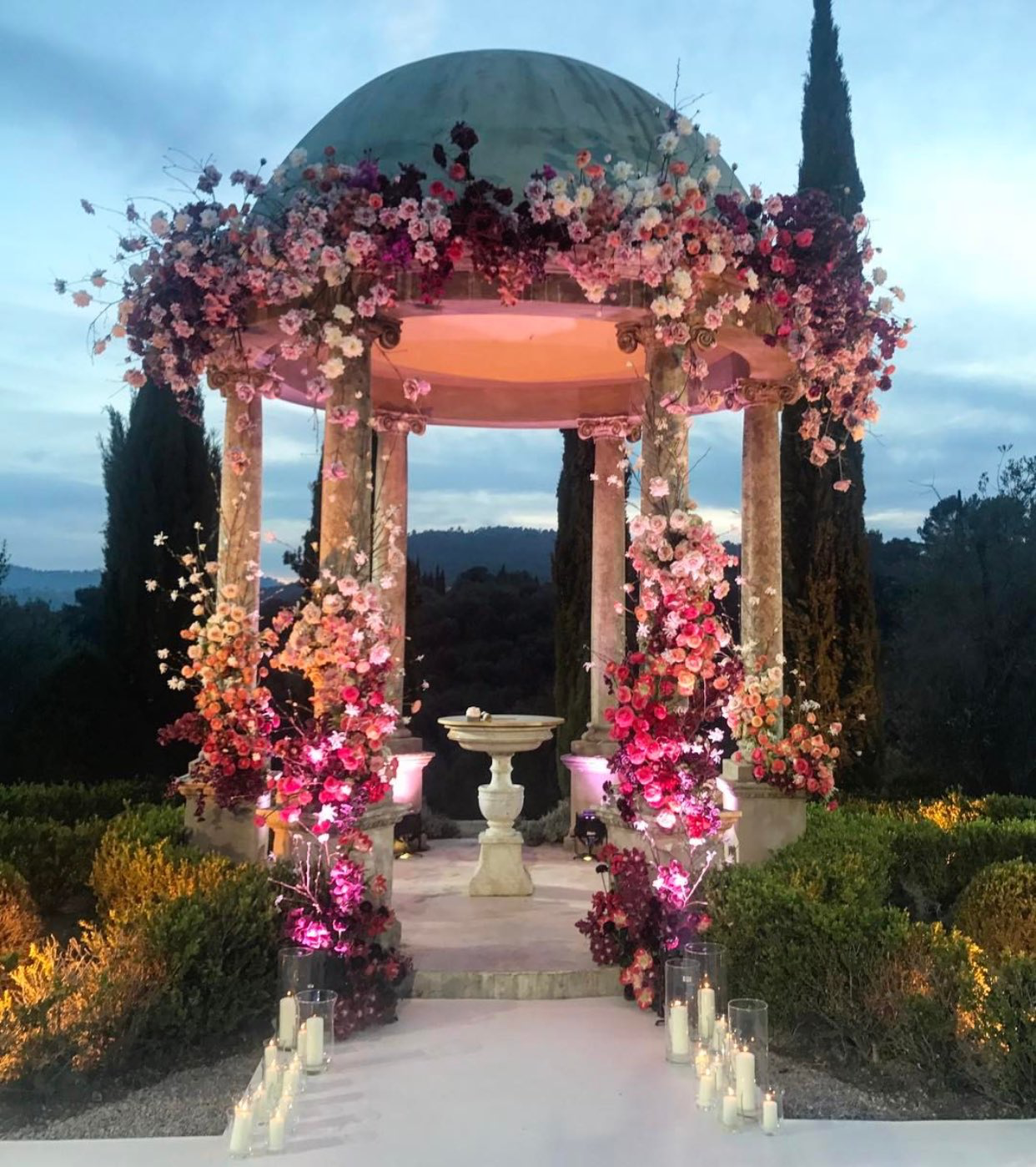 Flower Covered Pagoda Wedding Venue. Outdoor Wedding