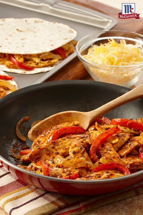 This easy quesadilla recipe is perfect for busy weeknight dinners. Tortillas are filled with chicken and vegetables cooked in a flavorful Skillet Sauce for an easy and delicious 30 minutes meal.