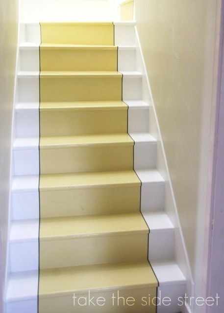 From Creepy Basement Staircase To Lovely Staircase. This Bright Painted  Stair Runner Makes All The Difference!