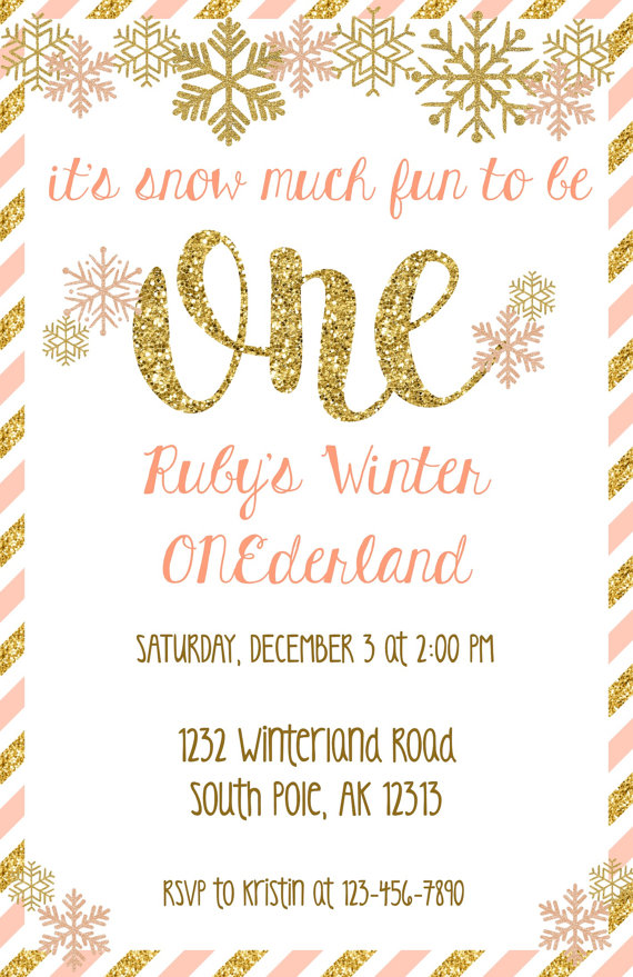 Winter Onederland Invitation Winter Wonderland Invitations Pink