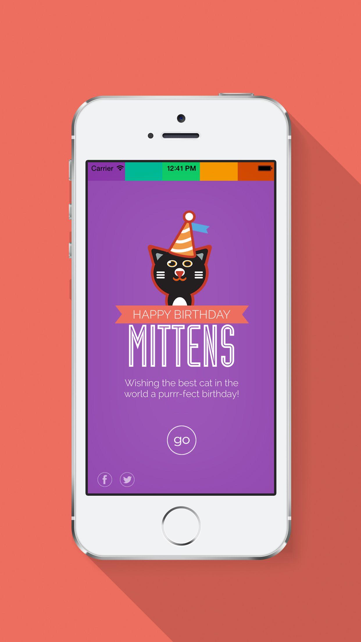 A Birthday Greeting UI IOS App Design Cats IPhone