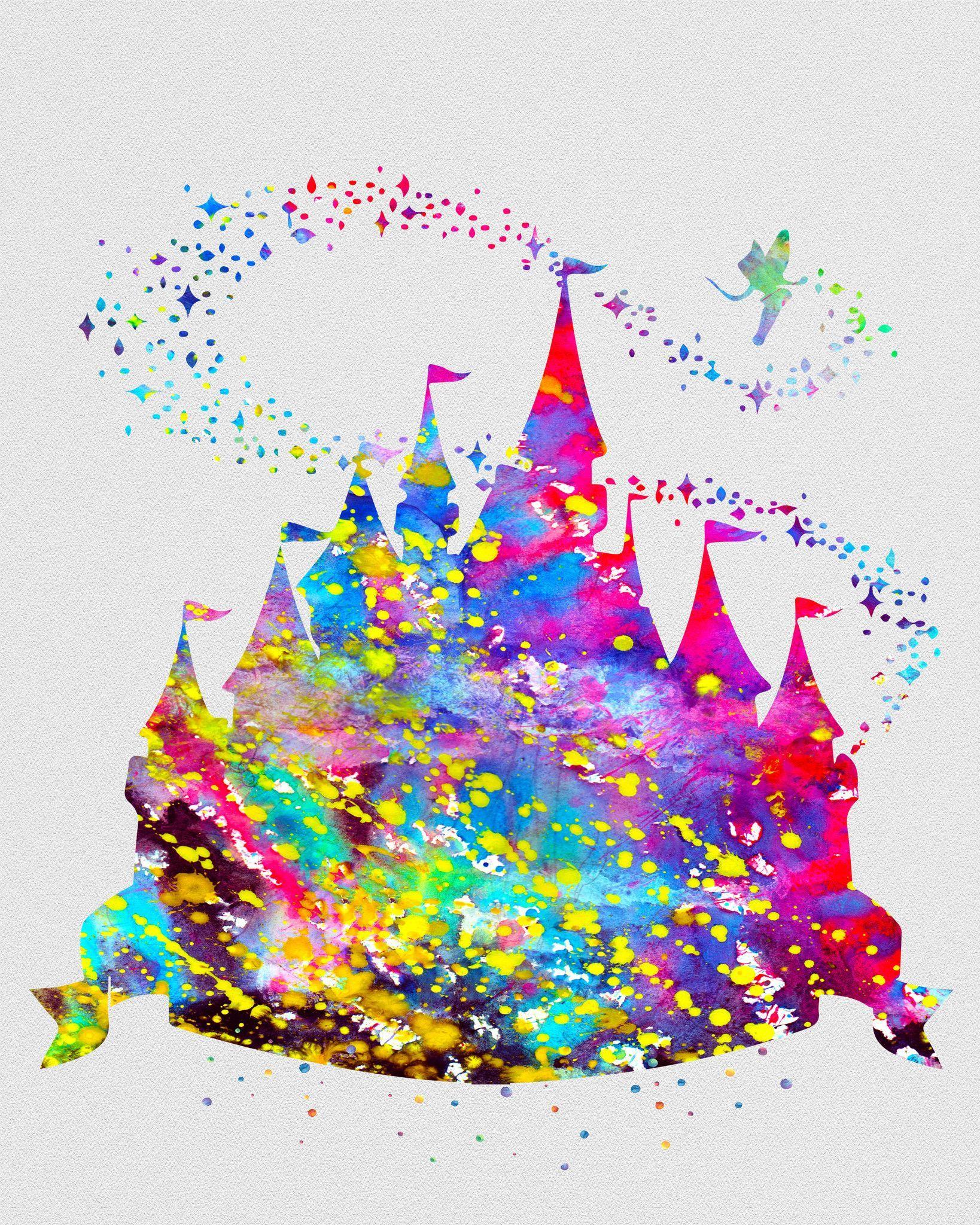 Princess castle watercolor art print disney aquarelle - Peinture princesse disney ...