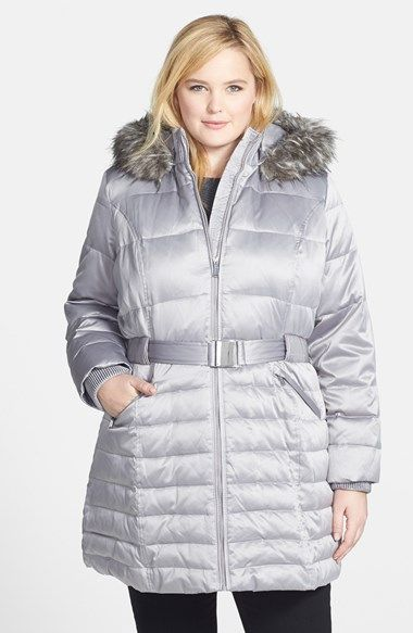 DKNY Down   Feather Fill Coat with Faux Fur Trim (Plus Size) available at   Nordstrom f784d0093b