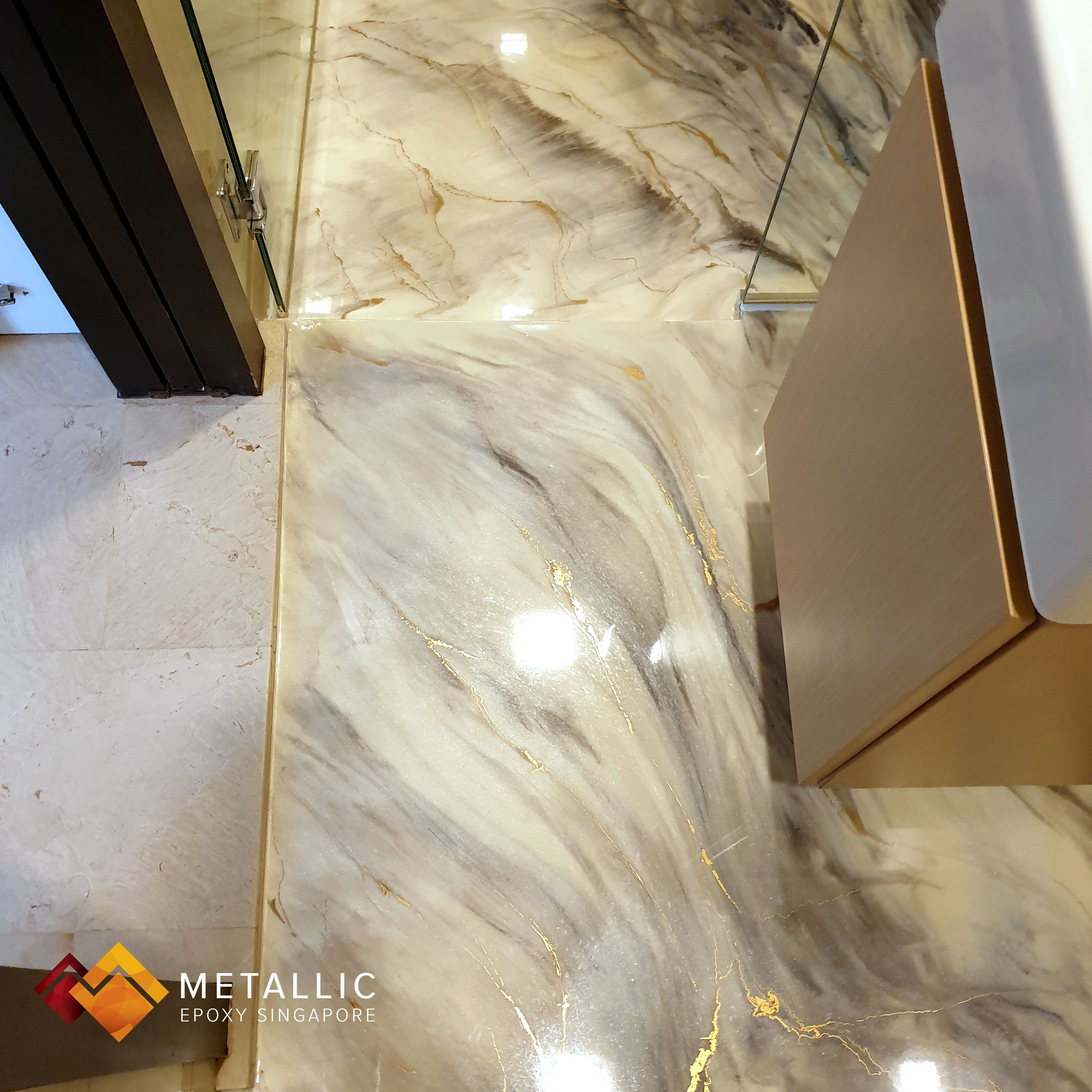 A Gorgeous Marble Like Design With Gold Veins On A Mixed Beige Base Sprucing Up This Guest Bathroom Metal Basement Design Floor Design Bathroom Remodel Idea