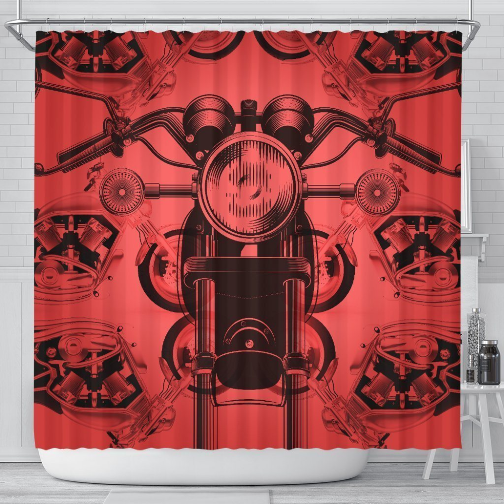 Retro Motorcycle Shower Curtain With Images Retro Motorcycle Retro