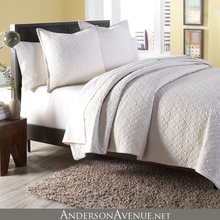 The Taylor 3 piece Duvet Set is beautiful enough to stand on its own or to blend with other coordinating bedding accents.  The ivory color and quilted design provides a neutral texture that can work in any bedroom. Taylor is available in both King and Queen Size Duvet Sets.