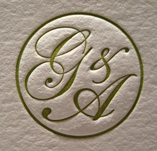Grace Arthur Wedding Invitations Monogram Closeup – Wedding Invitation Monograms