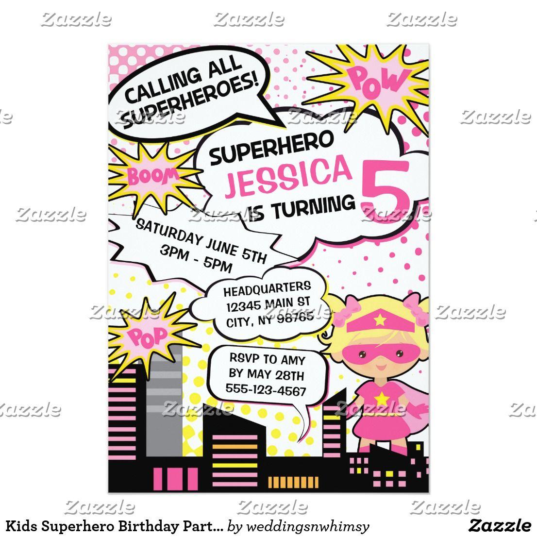 Kids Superhero Birthday Party Invite Girl Hero | Pinterest ...