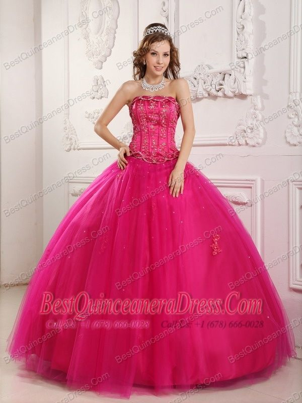 Pink Ball Gown Strapless Floor-length Tulle Beading Quinceanera ...