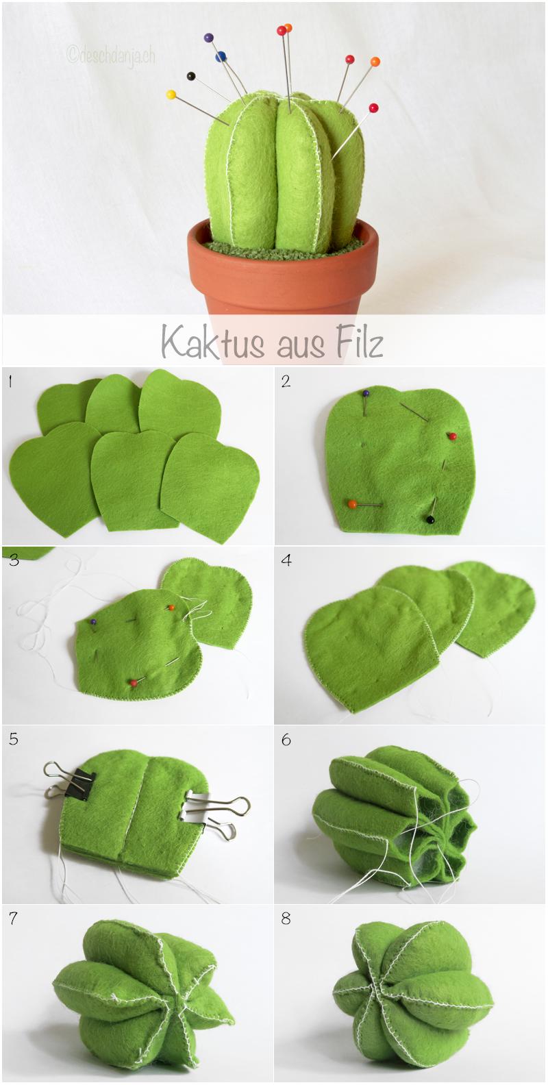 Felt cactus pincushion tutorial, www.deschdanja.ch | Sewing ...