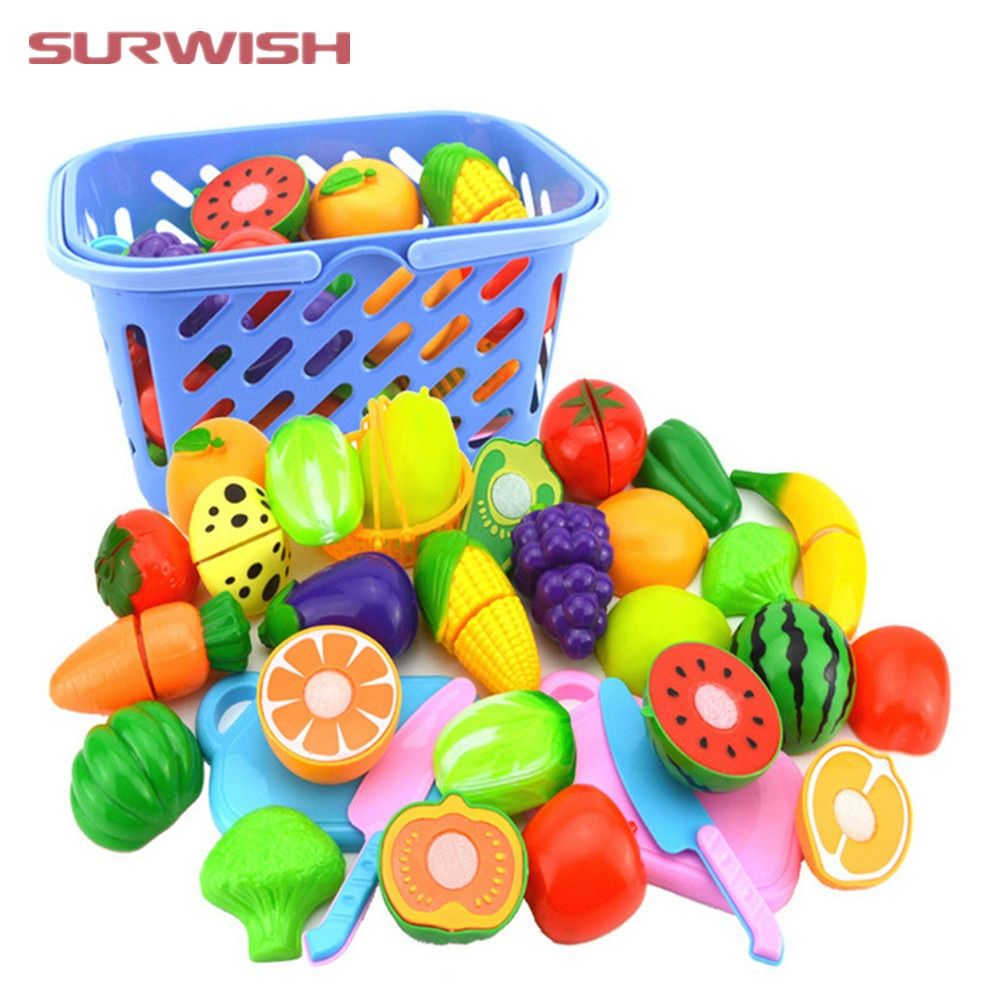 4 Color Simulated Supermarket Shopping Storage Food Basket Kids Play Kitchen Toy