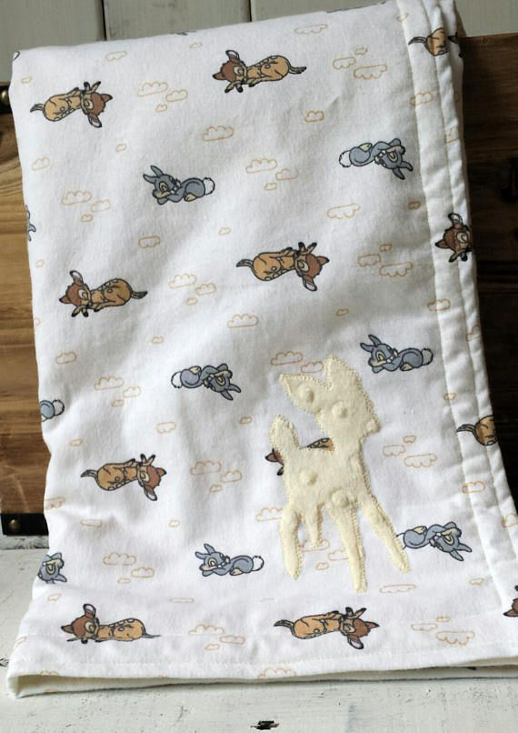 Baby Blanket Front Is Made Of 100 Cotton Flannel In Ivory White With A Sleeping Bambi And Thump Neutral Baby Blankets Gender Neutral Baby Blanket Neutral Baby