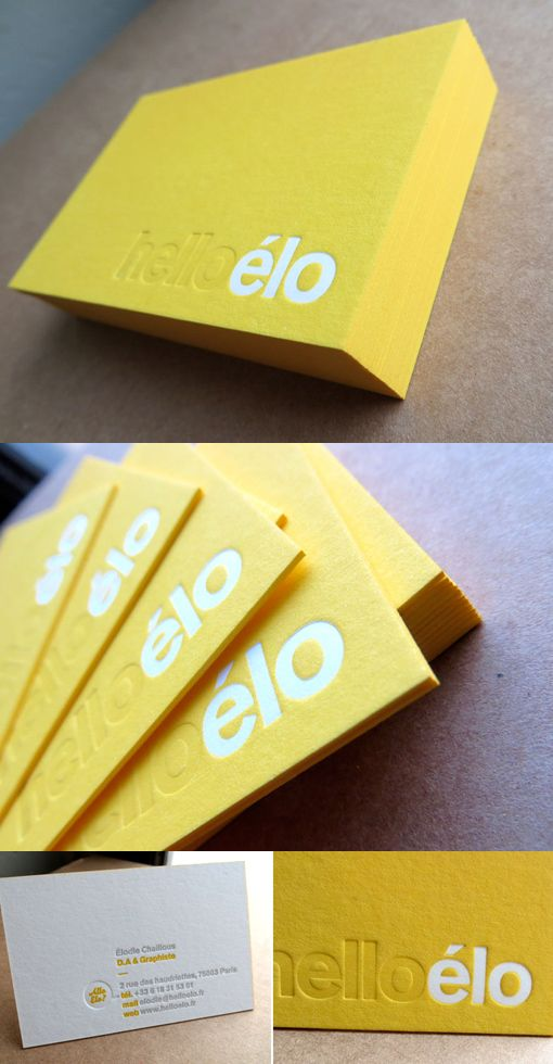 Yellow Letterpress Business Card Designed for Elodie Chaillous of