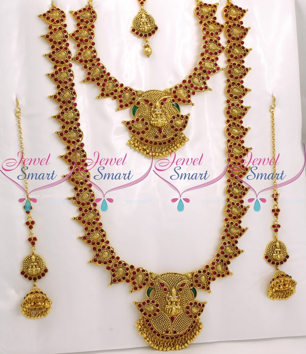 Bridal Temple Mango Jewellery Set Red Kemp Stones Traditional South Indian Collections