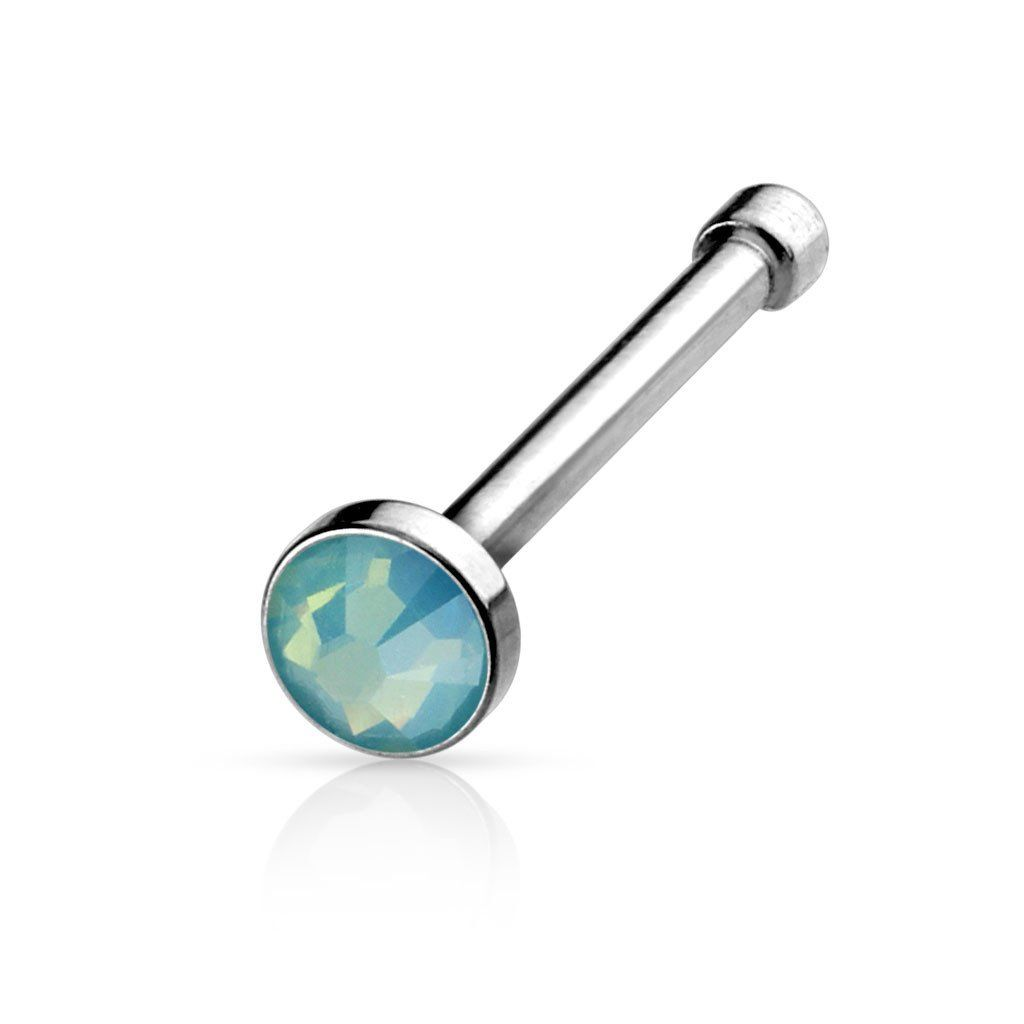 Healed nose piercing hole  Flat Top Opalite Stone Press Fit L Surgical Steel Nose Bone
