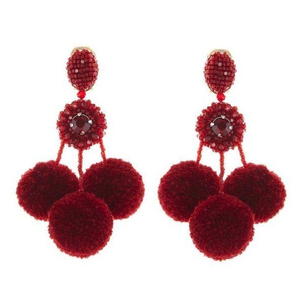 Oscar De La Renta Pompom Flower Beaded Earrings lbMdkaz
