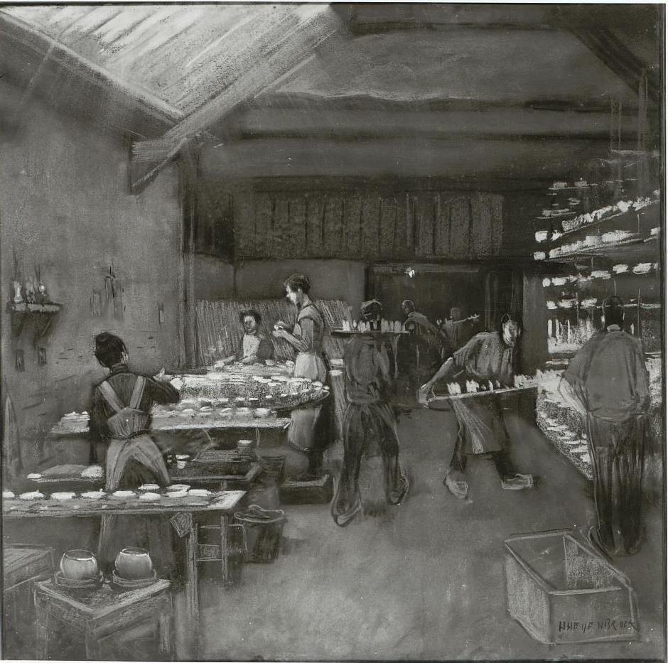 Het opbergen van aardewerk;Regout Maastricht   Heijenbrock