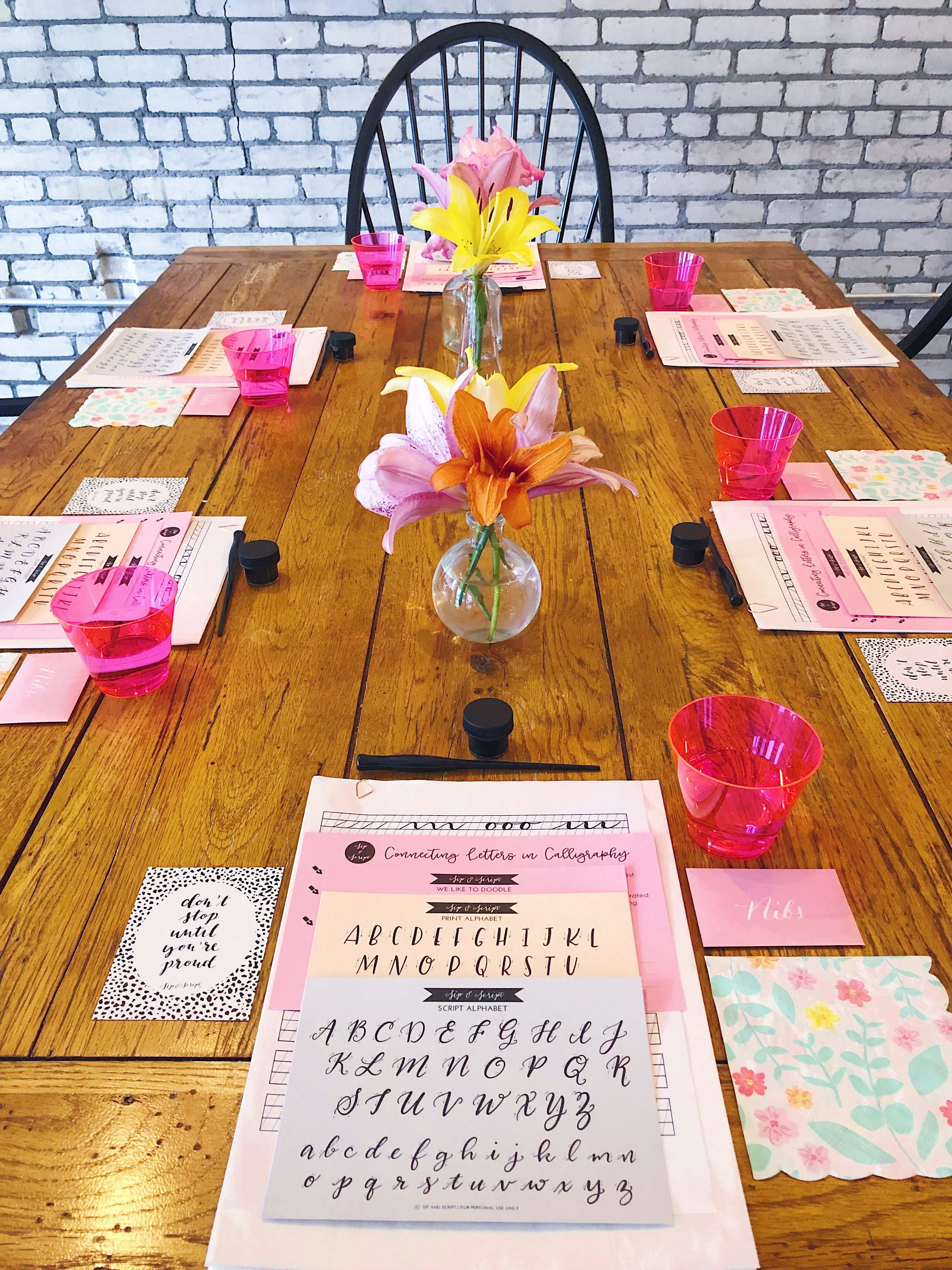 styled calligraphy class with cocktails Learn modern