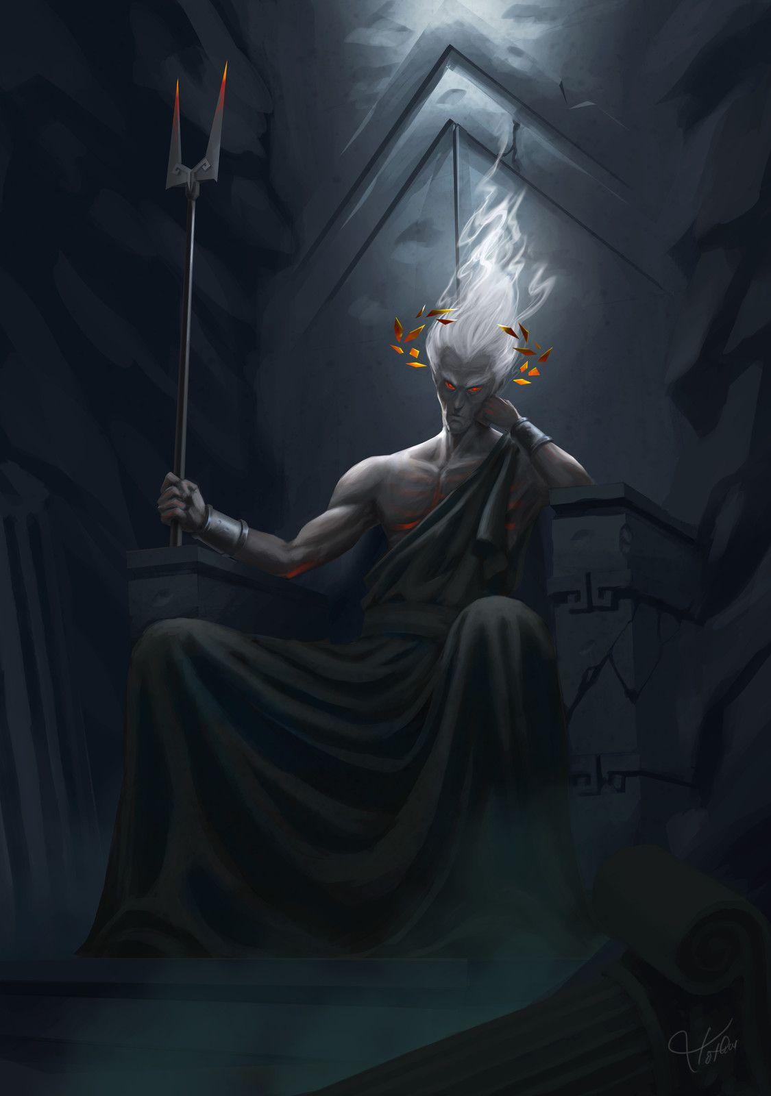 Hades On His Throne With A Bident Hades Greek Mythology Hades