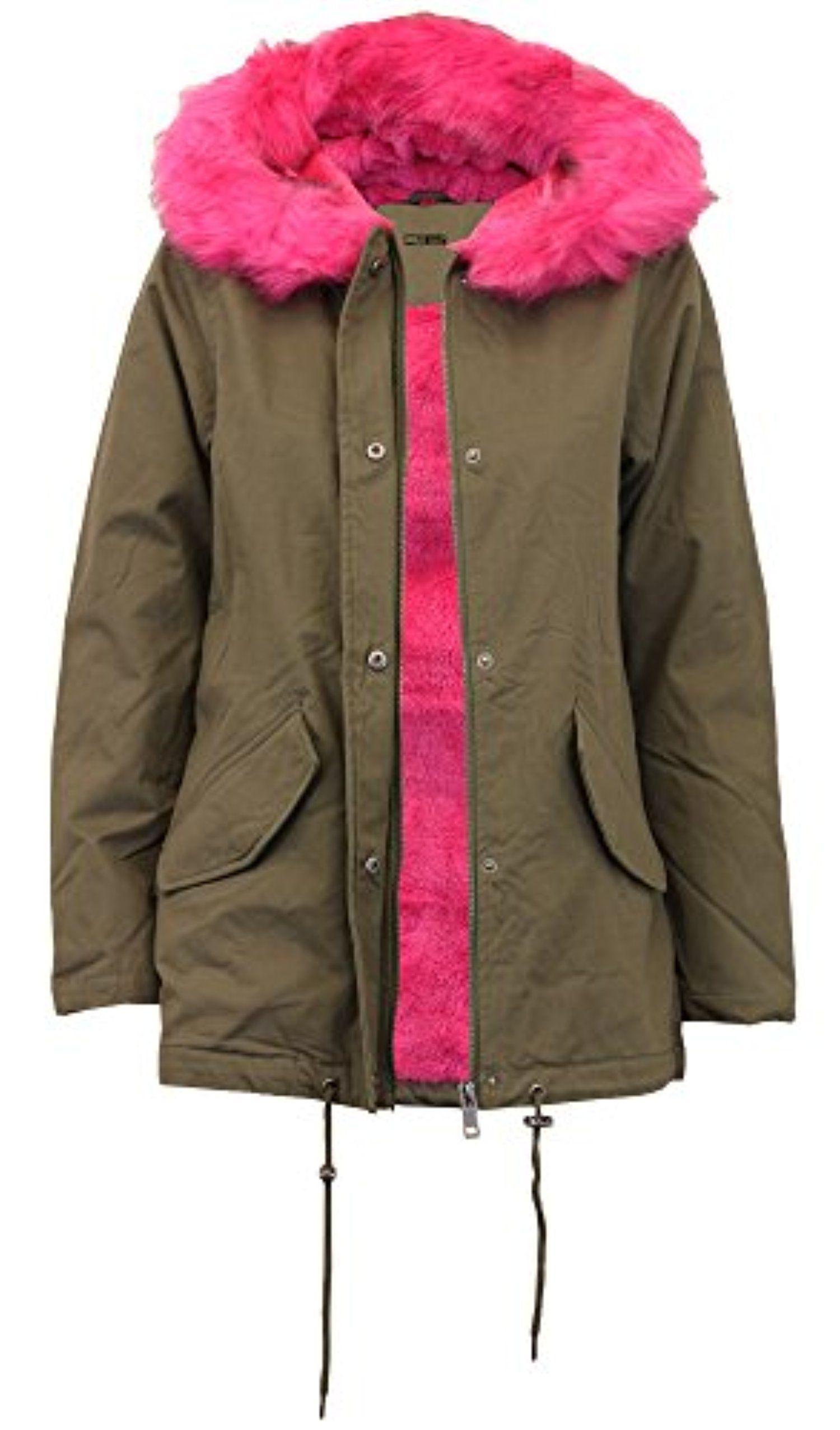 Click Selfie New ladies Fur Sherpa Hooded Parka Coat Fleece Lined ...