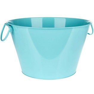 Set Your Spring On Color With Large Round Light Blue Metal Tub This Tub Is Perfect For Filling With Ice To Chill Bottled Metal Tub Round Light Art Craft Store