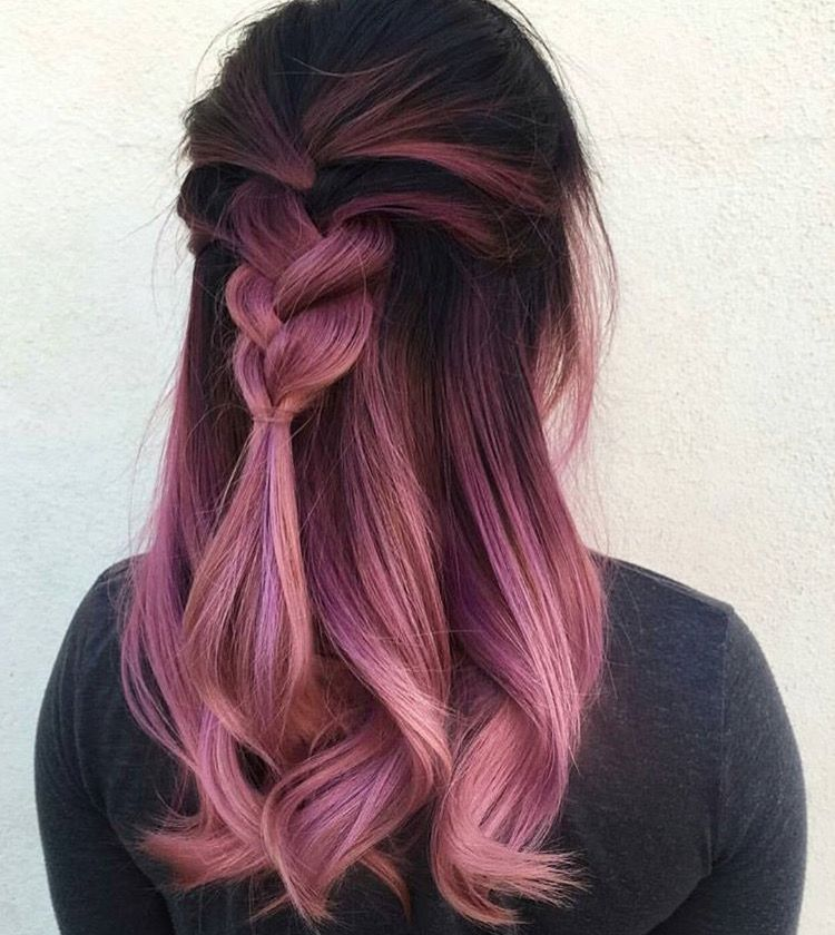 braided metallic pink hair colour