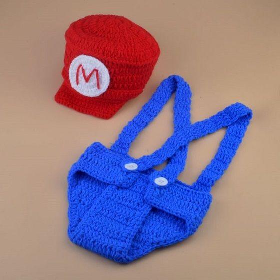 Super Mario Baby Photography Props Knit Crochet Hats Pants Cosplay Custome Set