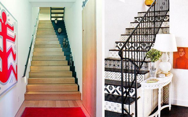 Cuando los pisos tienen más de una planta, decorar la escalera de la