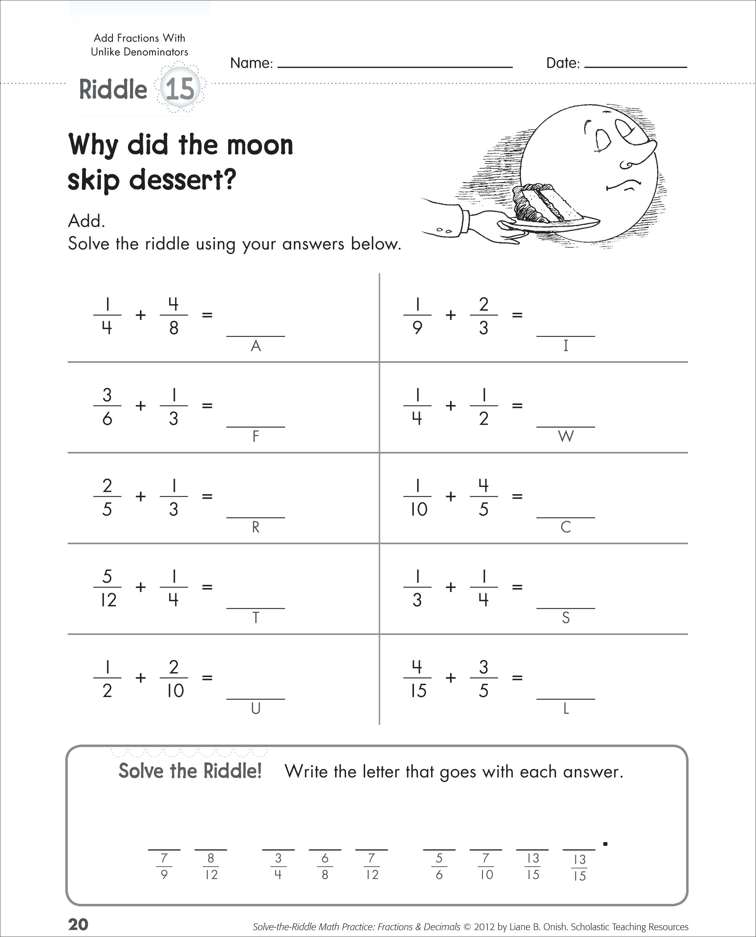 Adding Fractions Worksheets Subtracting And Adding