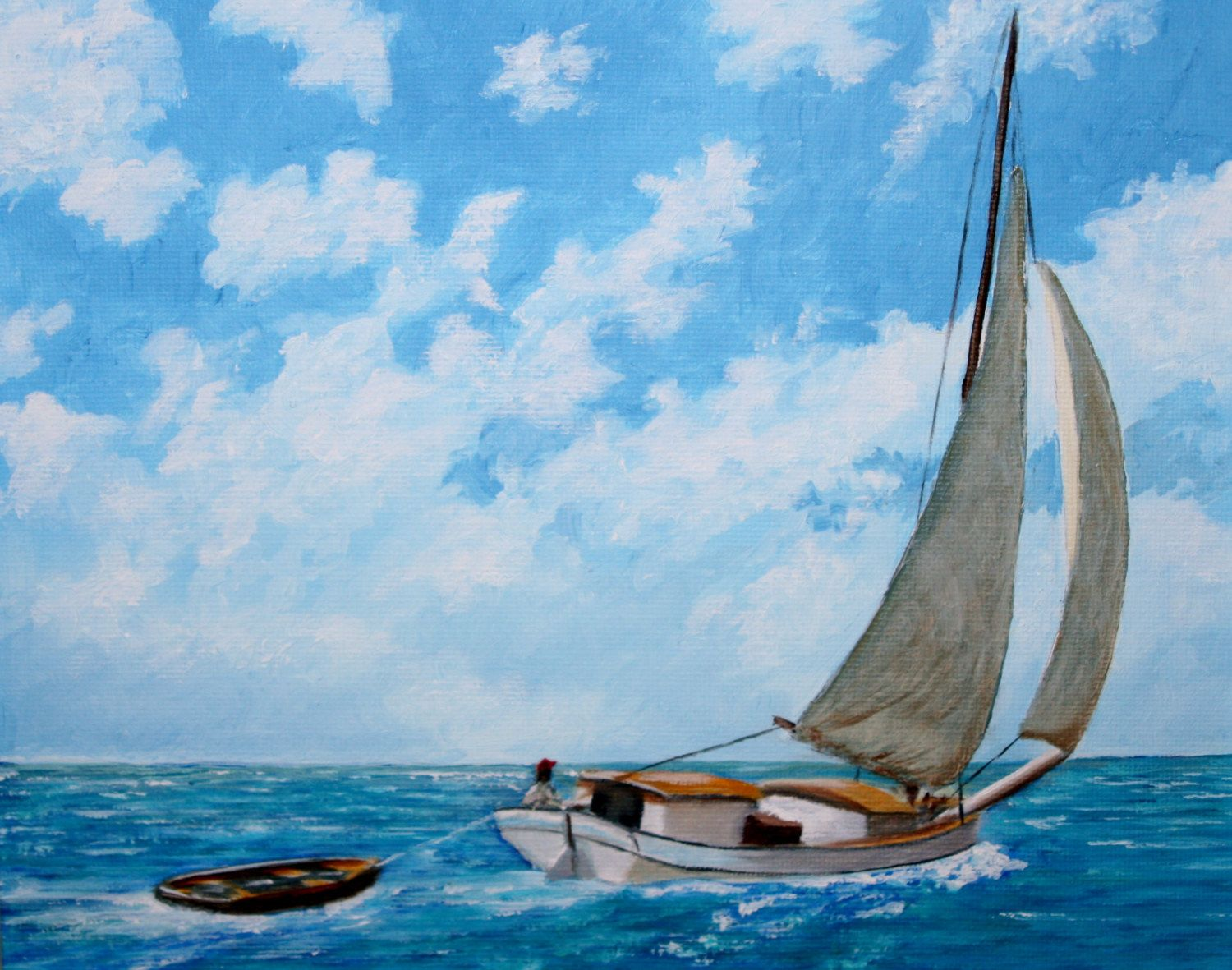 An old conch boat in the waters off the Bahamas.  The painting is 10 inches wide by 8 inches high.  It is an original oil on stretched canvas.  I can also offer the painting framed - as in photo 2.