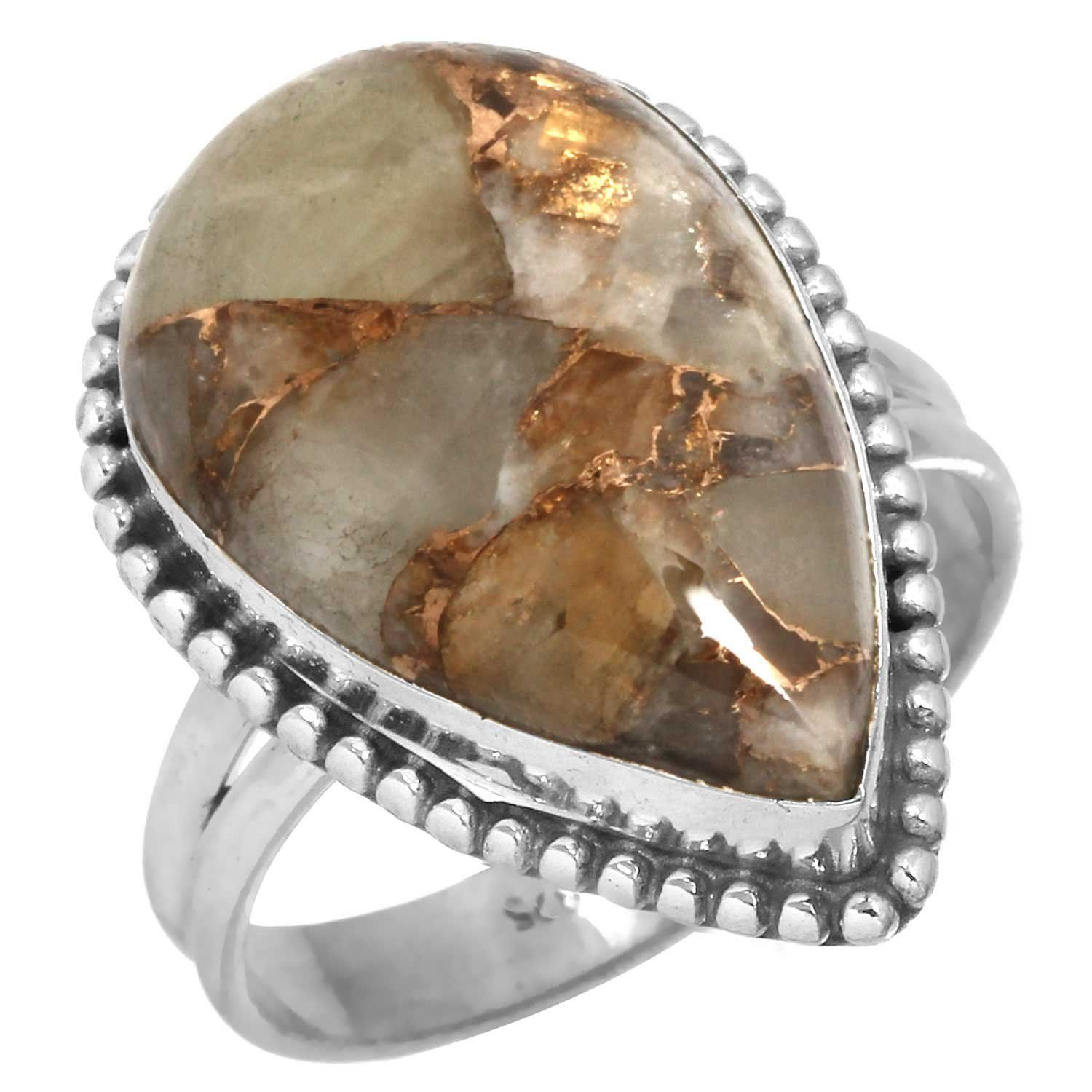 Solid 925 Sterling Silver Ring Natural Copper Calcite Gemstone Handmade Jewelry Size S