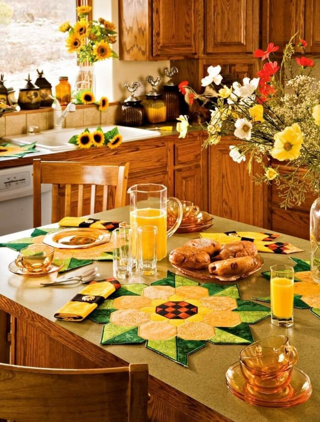 Sunflower kitchen theme with wooden cabinets