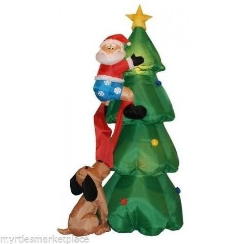 US 6 ft Inflatable Airblown Santa Claus Climbing Christmas Tree Dog Yard Decor