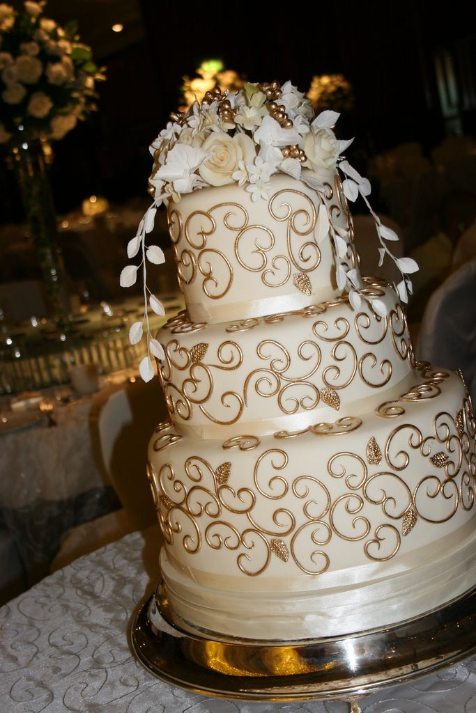 Gold scroll cake 2 Wedding anniversary cakes, 50th