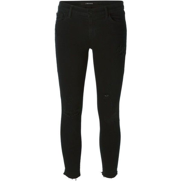 J BRAND Cropped Skinny Jeans ($349) ❤ liked on Polyvore featuring jeans, j brand, black jeans, black skinny leg jeans, denim skinny jeans and j brand jeans