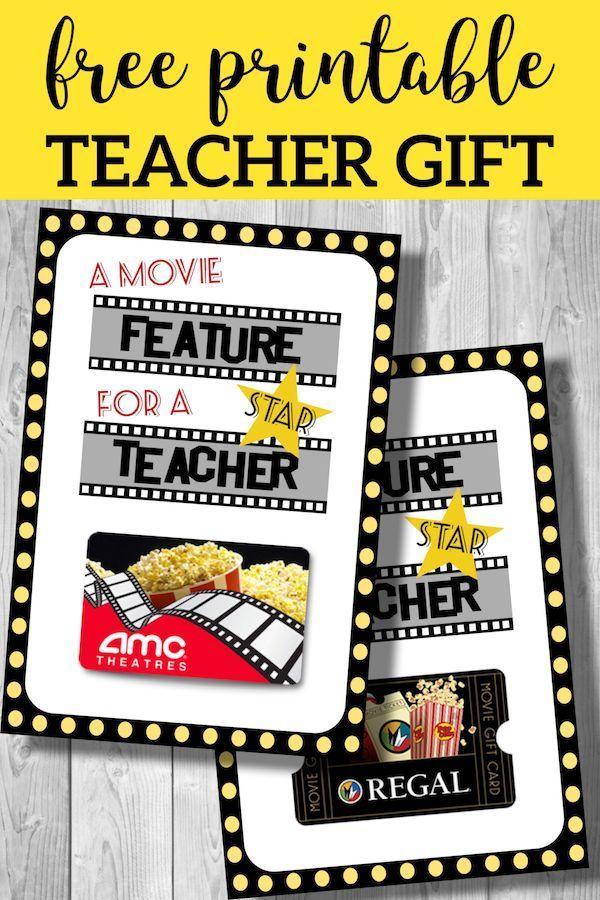 Easy Teacher Gifts Movie Free Printable Teacher Gifts