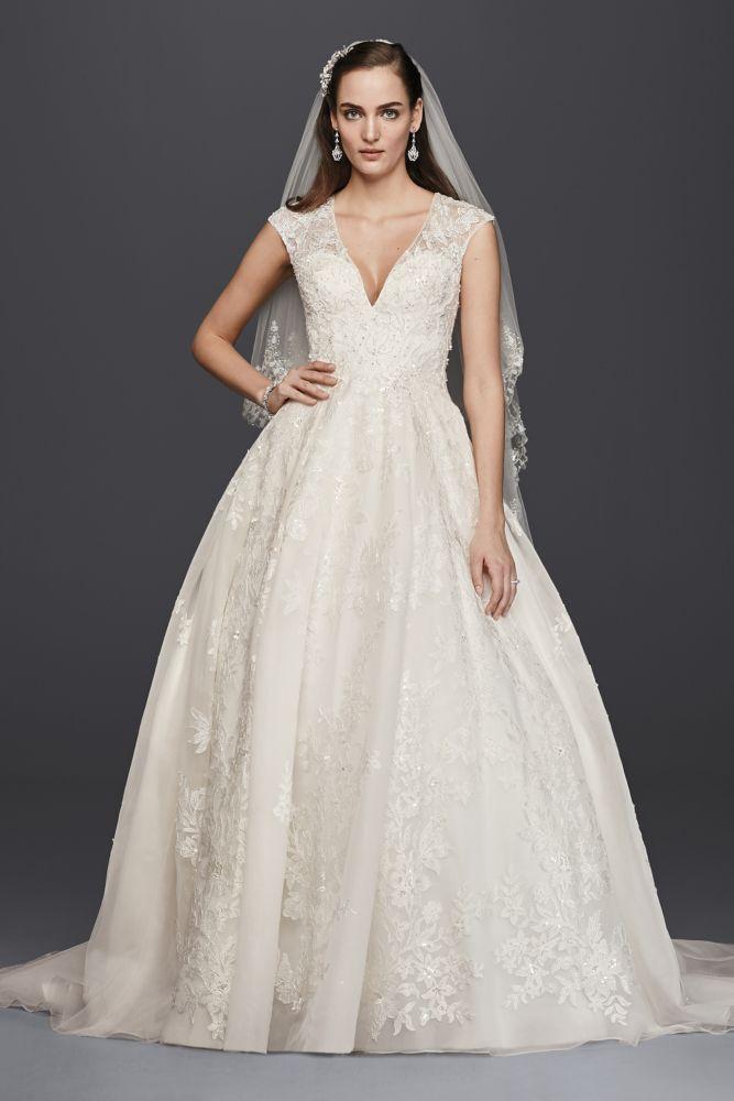 Oleg Cassini V-Neck Tulle Ball Gown Wedding Dress Style 4XLCWG748 ...