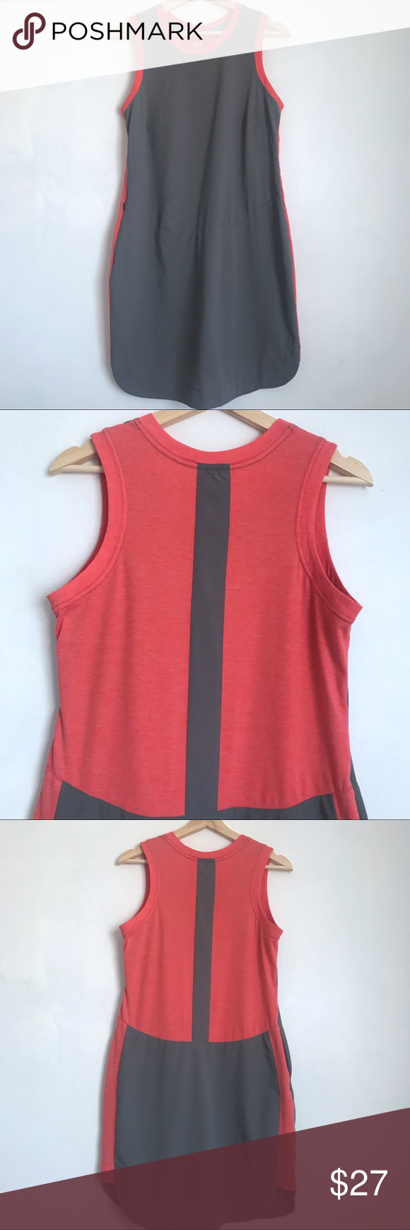 Title Nine Athletic Grey and Coral Dress Medium Coral