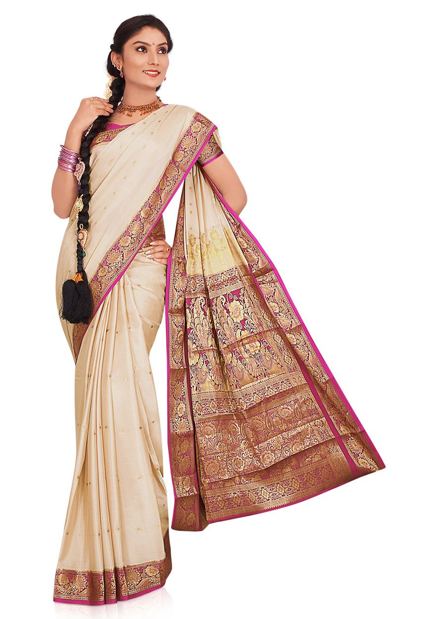 9078ab9fd2 Off White Pure Mysore Silk Saree with Blouse Online Shopping: SCX11B ...