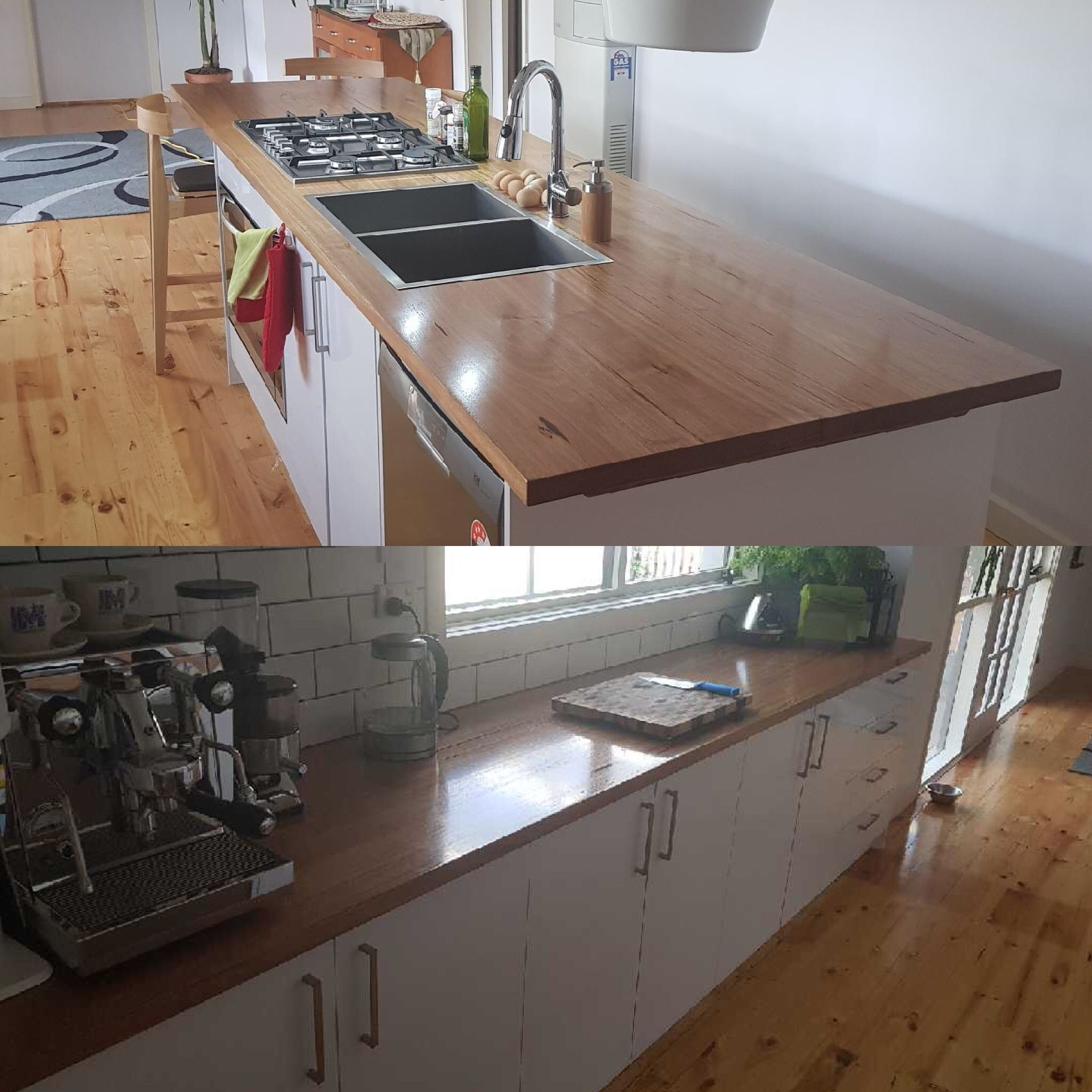 Waterfall Ends Kitchen Bench: Messmate Timber Kitchen Bench Tops
