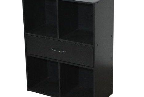 alsapan 478158 compo meuble de rangement 4 cases 1 tiroir noir