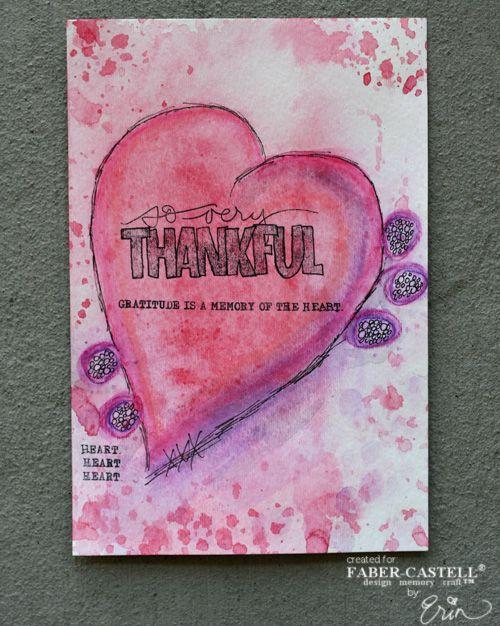 A Thankful Heart- An Art Journaling page by Erin Bassett