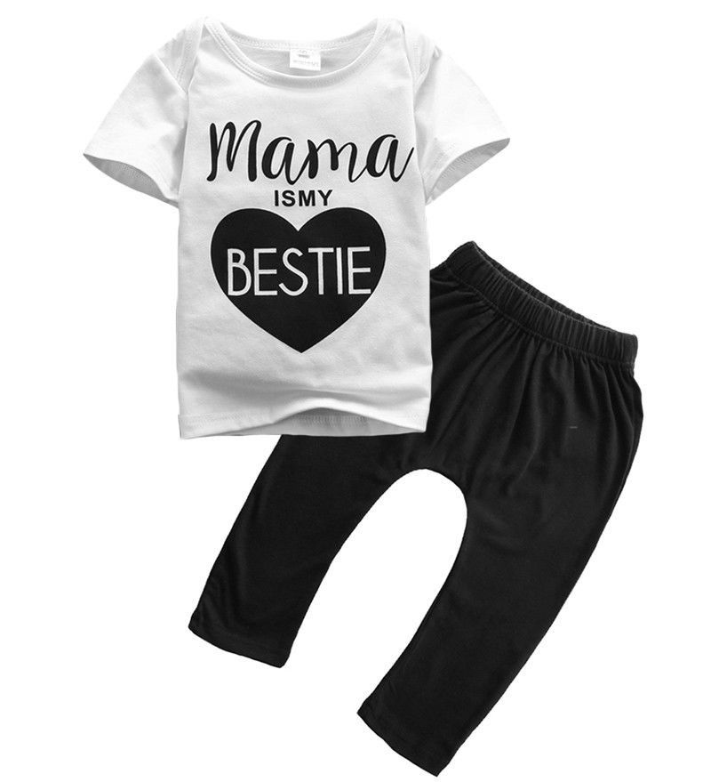 2017756add23 KLV 1Set Kids Toddler Boys Letter Print T-shirt+Shorts Trousers Clothes  Outfits