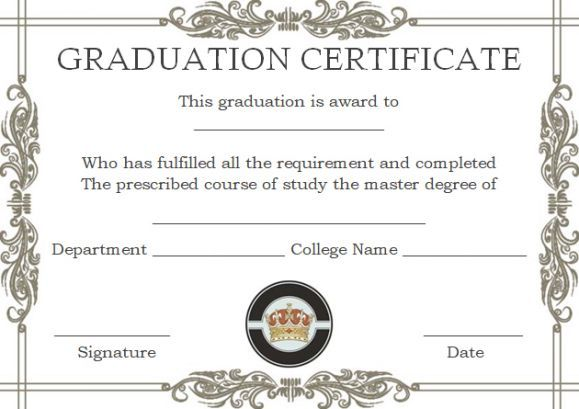 Masters Degree Certificate Templates  Masters Degree Certificate