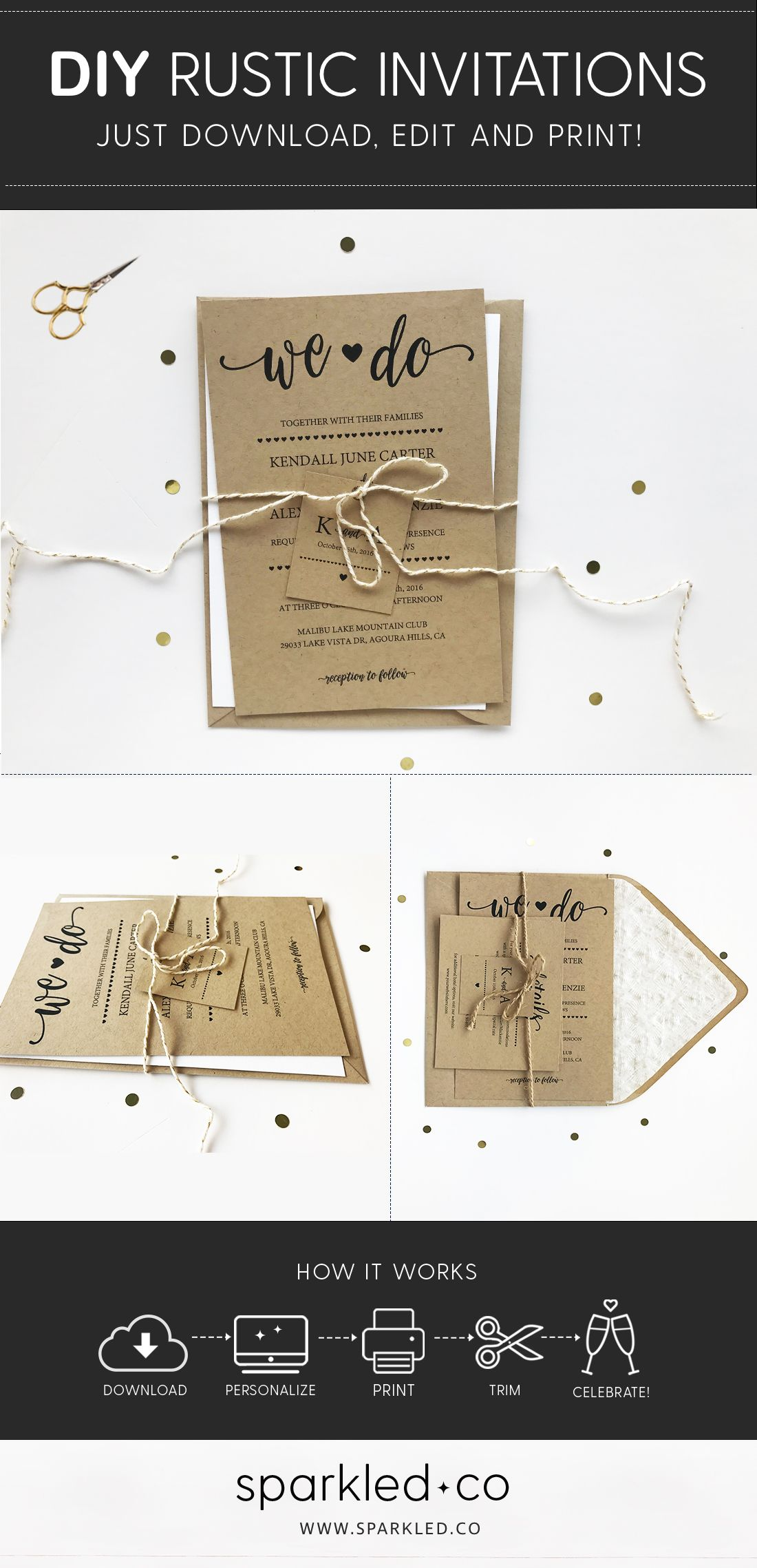Diy rustic wedding invitations instantly download edit and print