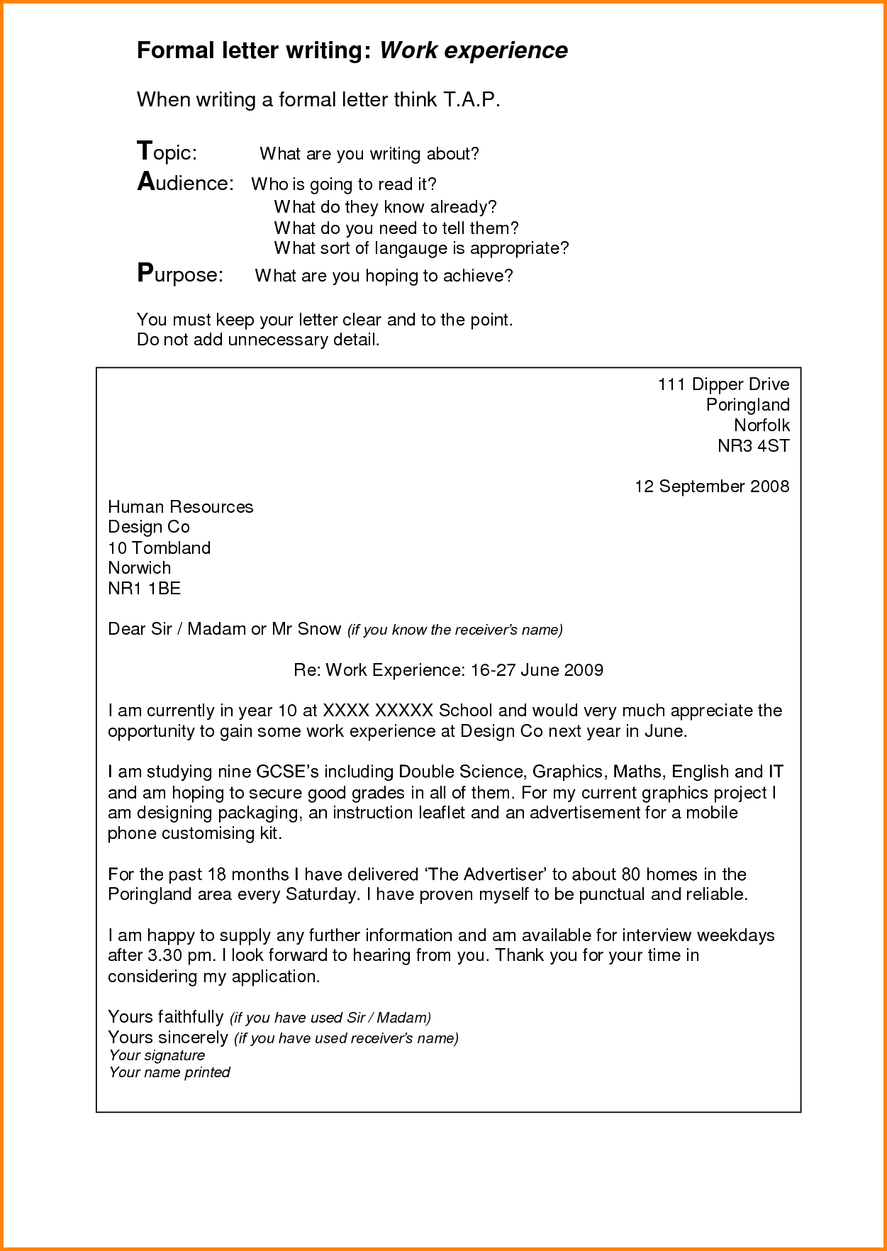 Formal Letter Writing  Sample Documents Pdf Word  Home